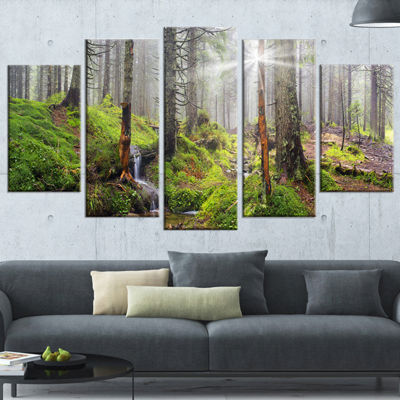 Designart Bright Green Carpathian Forest LandscapePhotography Canvas Print - 5 Panels