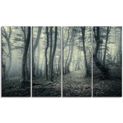 Designart Dark Gray Fall Forest Trees Landscape Photo Canvas Art Print - 4 Panels