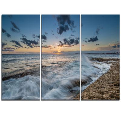 Design Art Sydney Sunset At La Per House Seascape Canvas Art Print - 3 Panels