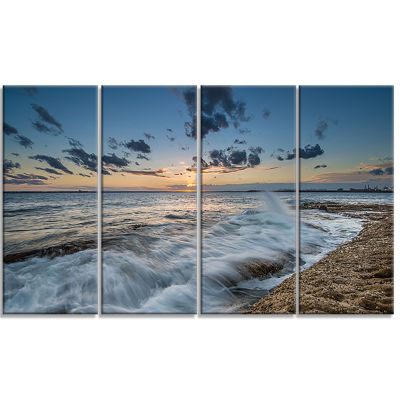 Designart Sydney Sunset At La Per House SeascapeCanvas Art Print - 4 Panels