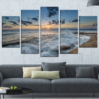 Designart Sydney Sunset At La Per House Seascape Canvas Art Print   5 Panels