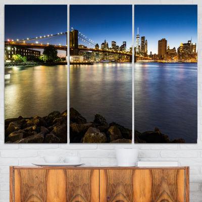 Designart Distant View Of Brooklyn Bridge Cityscape Canvas Print - 3 Panels