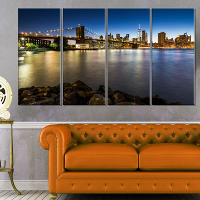 Designart Distant View Of Brooklyn Bridge Cityscape Canvas Print - 4 Panels