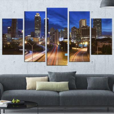 Designart Atlanta Skyline Twilight Blue Hour BlueCityscape Canvas Print - 5 Panels
