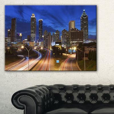 Designart Atlanta Skyline Twilight Blue Hour Cityscape Canvas Print