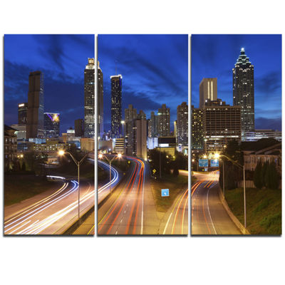 Designart Atlanta Skyline Twilight Blue Hour Cityscape Canvas Print - 3 Panels