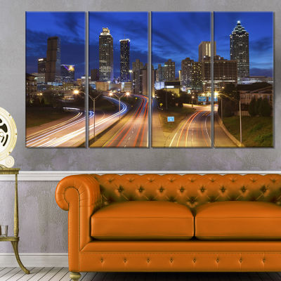 Designart Atlanta Skyline Twilight Blue Hour Cityscape Canvas Print   4 Panels