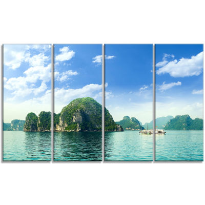 Designart Ha Long Bay In Vietnam Seascape CanvasArt Print - 4 Panels