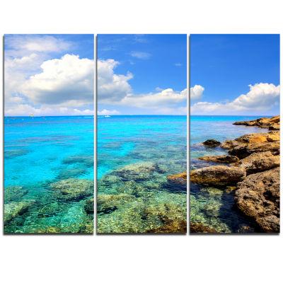 Designart Bright Summer Day In Sea Canvas Art Print - 3 Panels