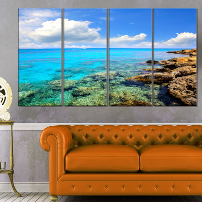 Design Art Bright Summer Day In Sea Canvas Art Print - 4 Panels