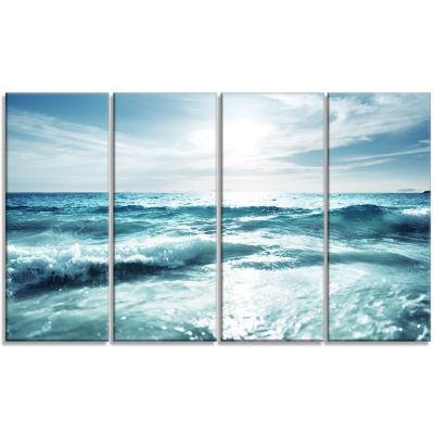 Designart Seychelles Beach At Sunset Seascape Canvas Art Print - 4 Panels