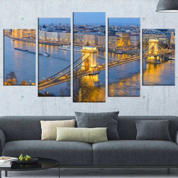 Designart Chain Building And Parliament In Budapest (373)Cityscape Canvas Print - 5 Panels
