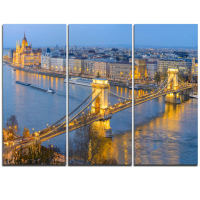 Designart Chain Building And Parliament In Budapest Cityscape Canvas Print - 3 Panels