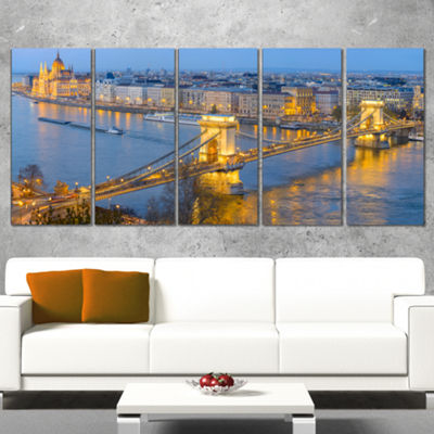 Designart Chain Building And Parliament In Budapest Cityscape Canvas Print - 5 Panels