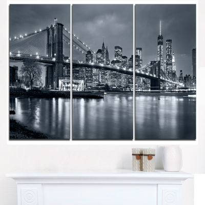 Designart Panorama New York City At Night Cityscape Canvas Print - 3 Panels