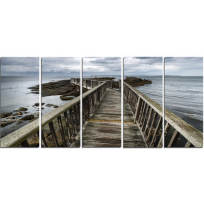 Designart Wooden Pier On North Irish Coastline SeaBridge Canvas Art Print   5 Panels