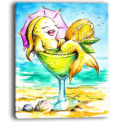 Designart Gold Fish Enjoying Holidays On Beach Cartoon Animal Print