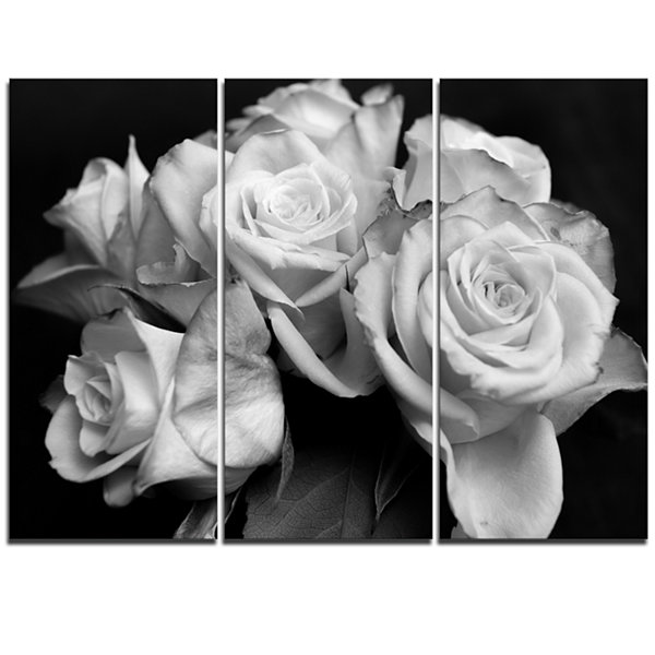 Design Art Bunch Of Roses Black And White Floral Canvas Art Print - 3 Panels