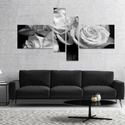 Design Art Bunch Of Roses Black And White Floral Canvas Art Print 4 Panels