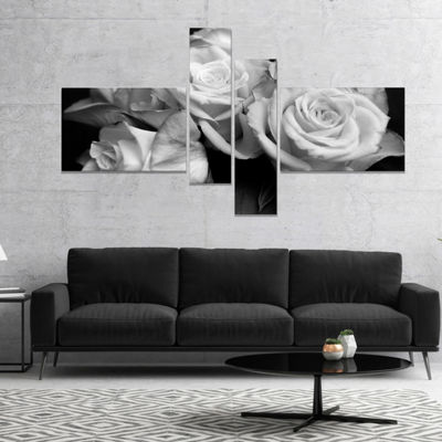 Designart Bunch Of Roses Black And White Floral Canvas Art Print 4 Panels
