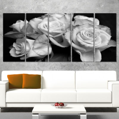 Designart Bunch Of Roses Black And White Floral Canvas Art Print   5 Panels