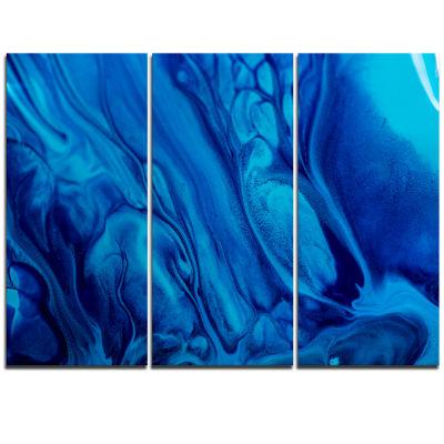 Designart Dark Blue Abstract Acrylic Paint Mix ArtCanvas Wall Art - 3 Panels