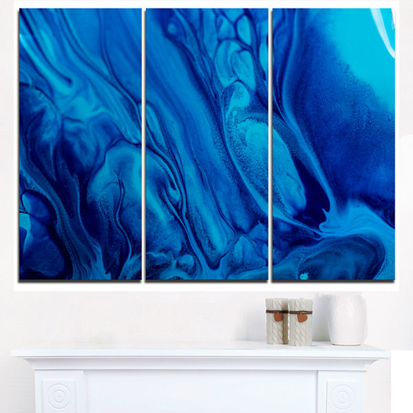 Designart Dark Blue Abstract Acrylic Paint Mix ArtCanvas Wall Art - 3 Panels
