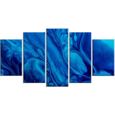 Designart Dark Blue Abstract Acrylic Paint Mix Contemporary Art Canvas Wall Art - 5 Panels