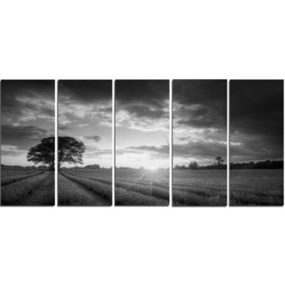 Design Art Vibrant Black White Lavender Field Landscape Canvas Art - 5 Panels