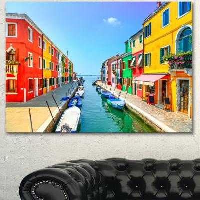 Designart Colorful Burano Island Canal Venice Landscape Canvas Art