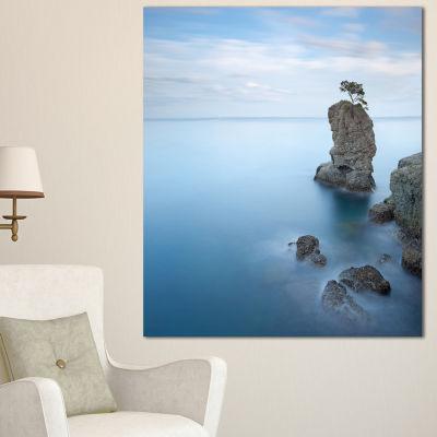 Design Art Pine Tree Rock At Portofino Park Beach Photo Canvas Print