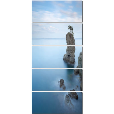 Design Art Pine Tree Rock At Portofino Park Beach Photo Canvas Print - 5 Panels