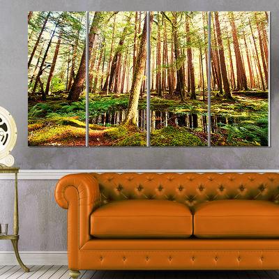 Designart Dense Trees In Green Rain Forest Landscape Canvas Art - 4 Panels