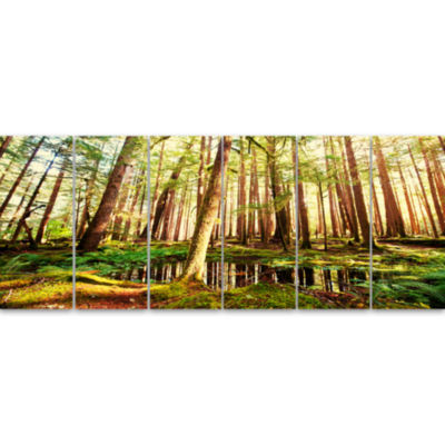 Design Art Dense Trees In Green Rain Forest Landscape Canvas Art - 6 Panels