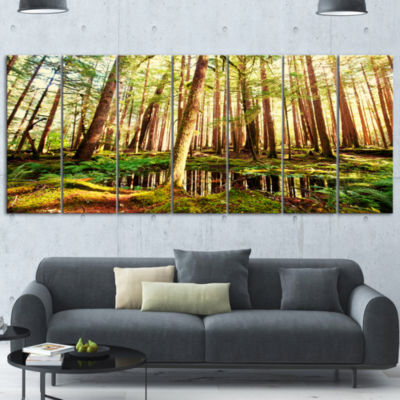 Designart Dense Trees In Green Rain Forest Landscape Canvas Art - 7 Panels