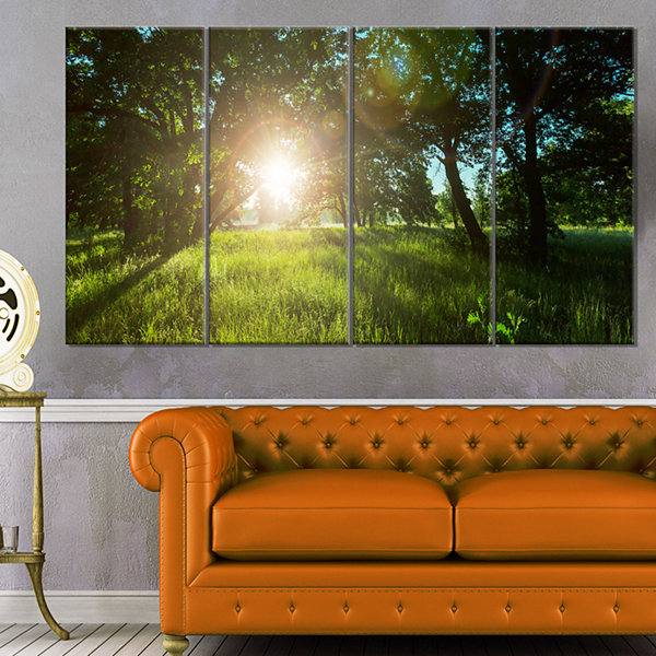 Designart Sunny Day In Green Forest Meadow Landscape Canvas Art - 4 Panels