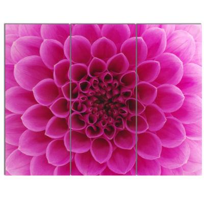 Design Art Dark Pink Abstract Flower Petals CanvasArt Print - 3 Panels