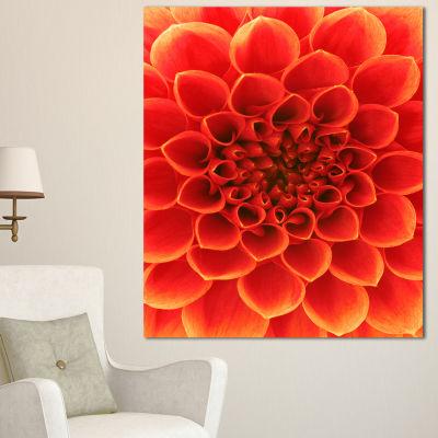 Designart Orange Abstract Floral Design Canvas ArtPrint