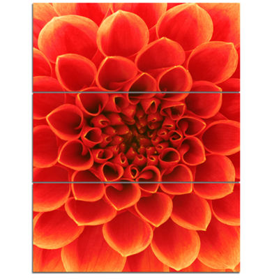 Designart Orange Abstract Floral Design Canvas ArtPrint - 3 Panels