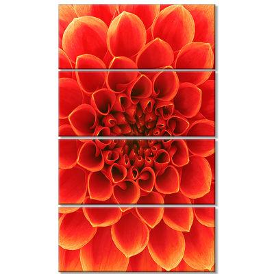 Designart Orange Abstract Floral Design Canvas ArtPrint - 4 Panels