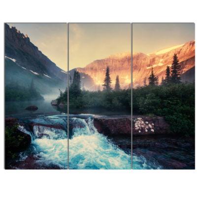 Designart Glacier National Park Montana LandscapeCanvas Art Print - 3 Panels