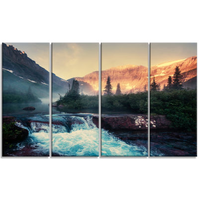 Designart Glacier National Park Montana LandscapeCanvas Art Print - 4 Panels