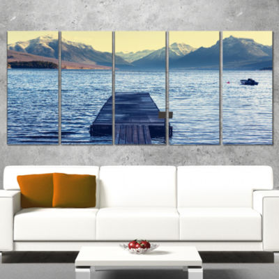 Designart Lake In Glacier National Park Seashore Canvas Print - 5 Panels