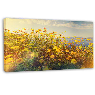 Designart Wild Yellow Flowers Meadow Canvas Art Print