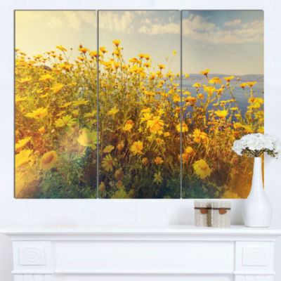 Designart Wild Yellow Flowers Meadow Canvas Art Print - 3 Panels