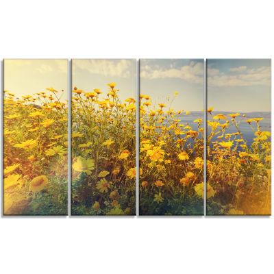 Design Art Wild Yellow Flowers Meadow Canvas Art Print - 4 Panels
