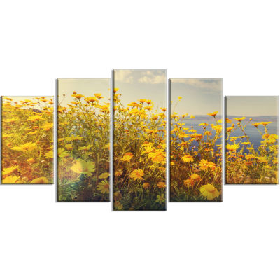 Designart Wild Yellow Flowers Meadow Canvas Art Print - 5 Panels