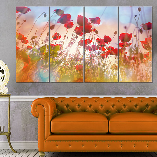 Designart Cute Poppy Flowers In Sunlight Canvas Art Print - 4 Panels