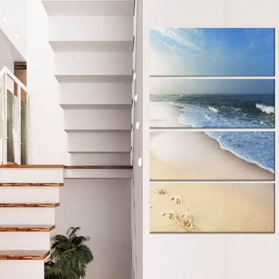 Design Art Clam Tropical Beach With Footprints Seashore Canvas Print - 4 Panels