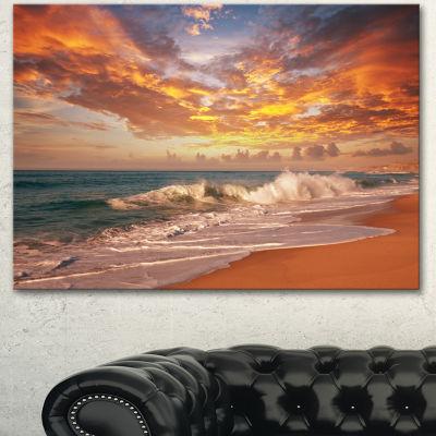 Designart Waves Under Colorful Clouds Seashore Canvas Print